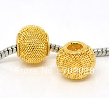 9.65 euro incl shipping Gold Plated Mesh Spacer Beads Fit Charm Bracelet 100pcs