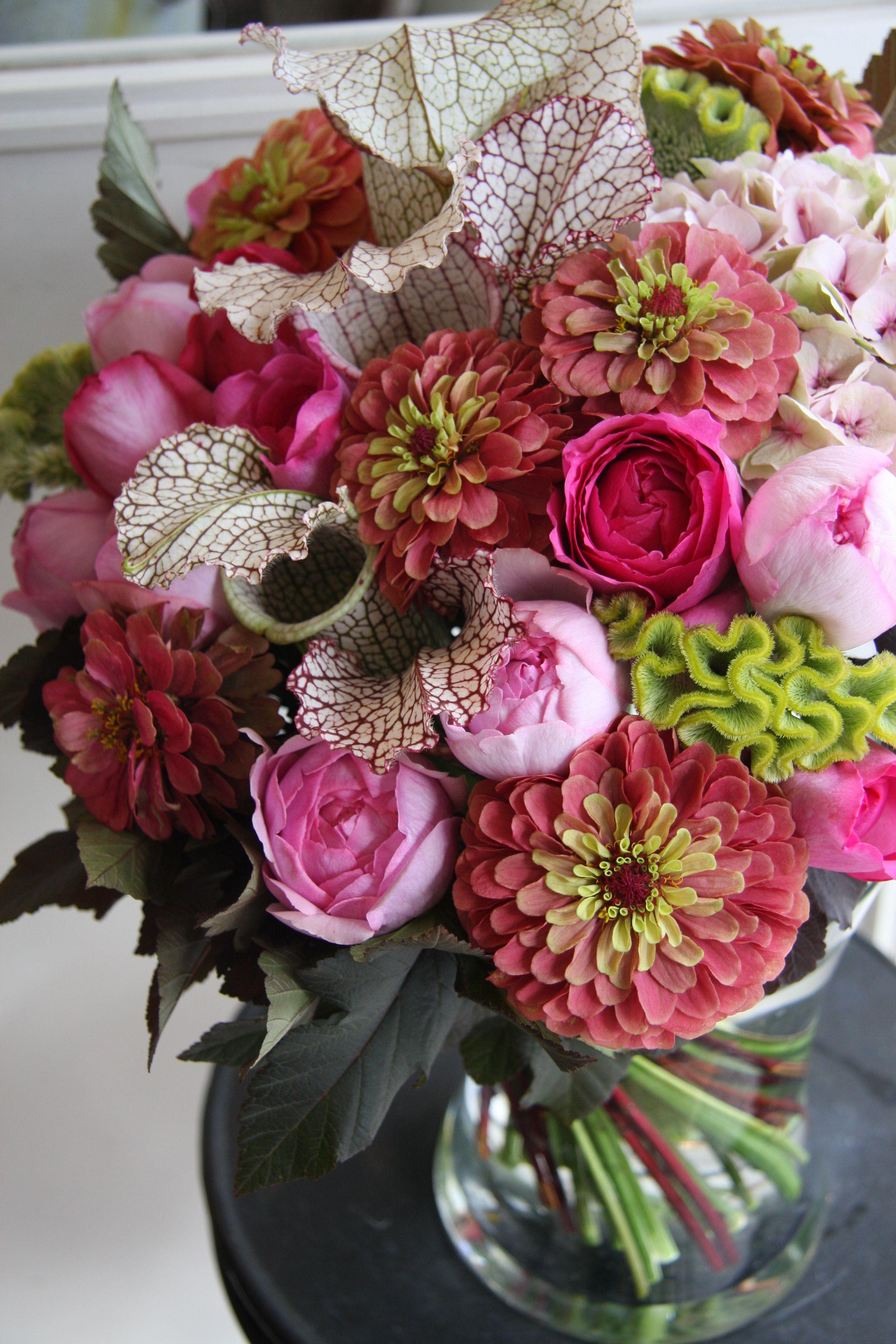 Celosia Rose Zinnia And Sarracenia Designed By Yukinobu Fujino Flower Arrangements Floral Flower Decorations
