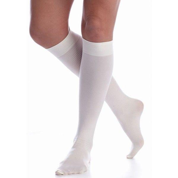 e35e4942b Hue Ivory Modern Rib Knee High Sock - Women s ( 7) ❤ liked on Polyvore