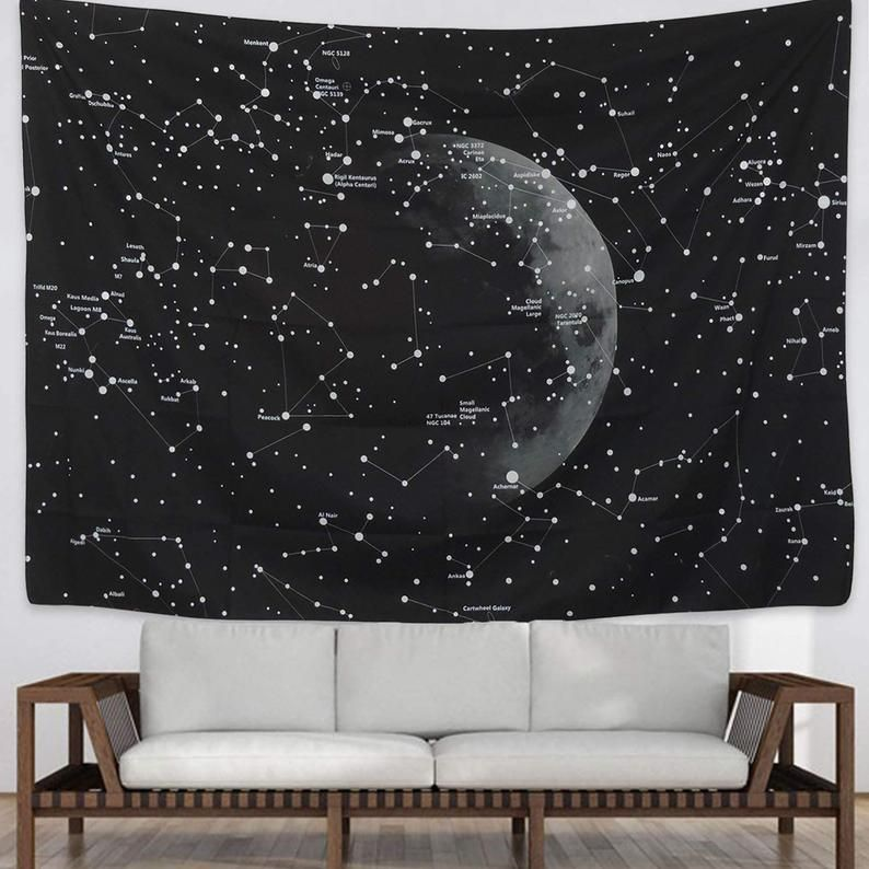 Moon Constellations Tapestry Wall Hanging Space Astrology Etsy In 2020 Dorm Wall Decor Wall Tapestry Bedroom Constellation Tapestry