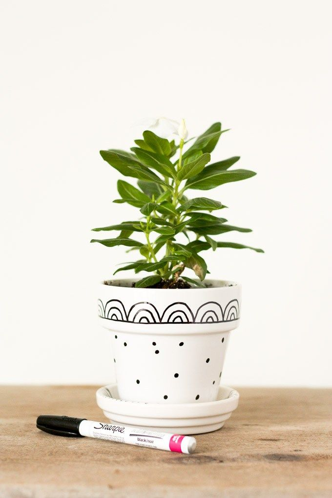 Need a cute quick last-minute gift? Customize a simple glazed flower pot with paint markers for a fun and fast gift.  sc 1 st  Pinterest & Graphic Hand-Painted Flower Pots | Bloggers\u0027 Best DIY Ideas ...