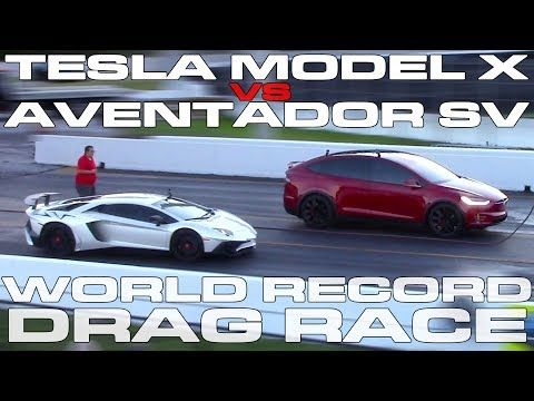 Tesla Model X Drag Races Lamborghini Aventator And Wins Daily Mail Online Tesla Model X Lamborghini Aventador Lamborghini