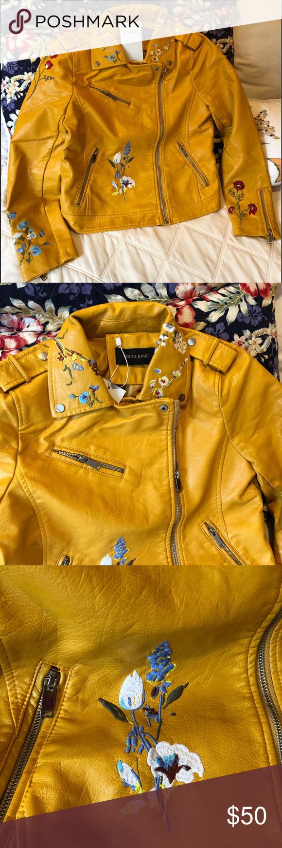 Zaful Embroidered Motorcycle Jacket Jackets, Pleather