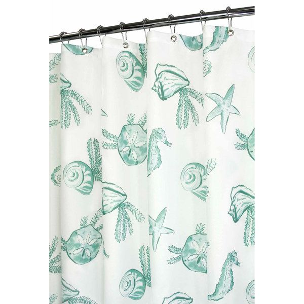 Sea Life White And Aqua Shower Curtain 35 Bed Bath And Beyond