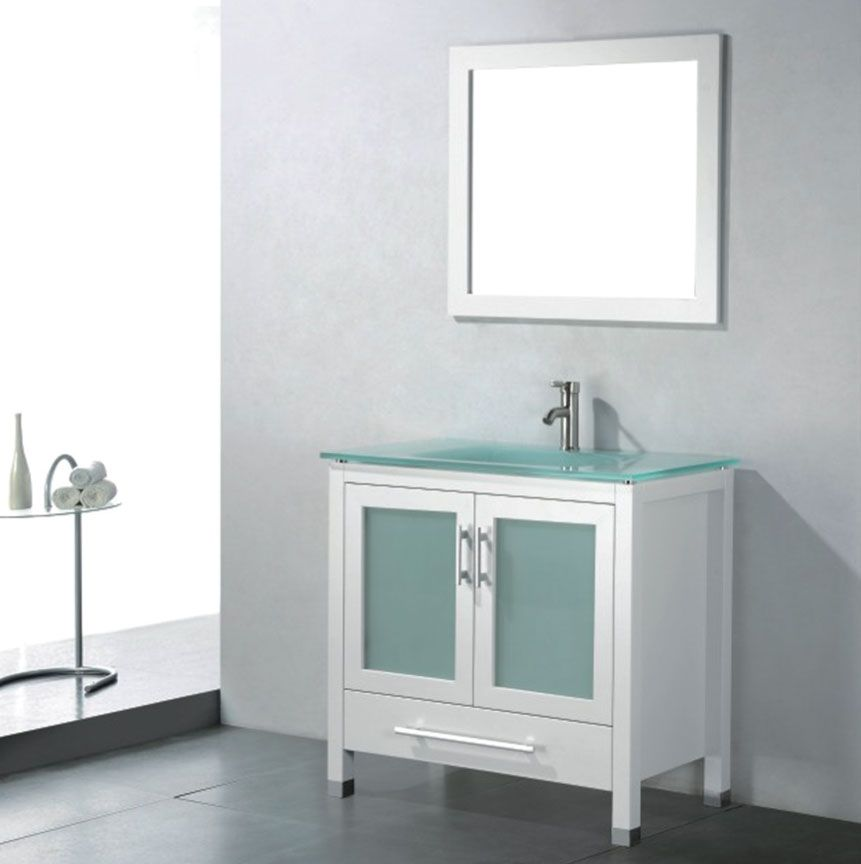 Website Picture Gallery Amara inch Modern Glass Top White Bathroom Vanity Floor Standing All wood vanity in White One piece Frosted Glass Top with integrated sink