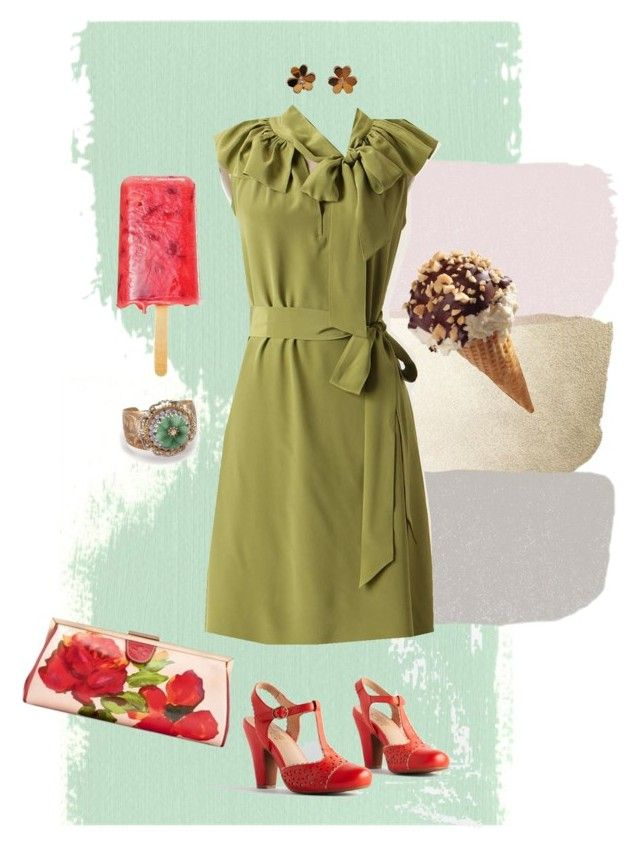 Silk green dress by di-ma-rivera on Polyvore featuring Miz Mooz, Van Cleef & Arpels and Patricia Nash