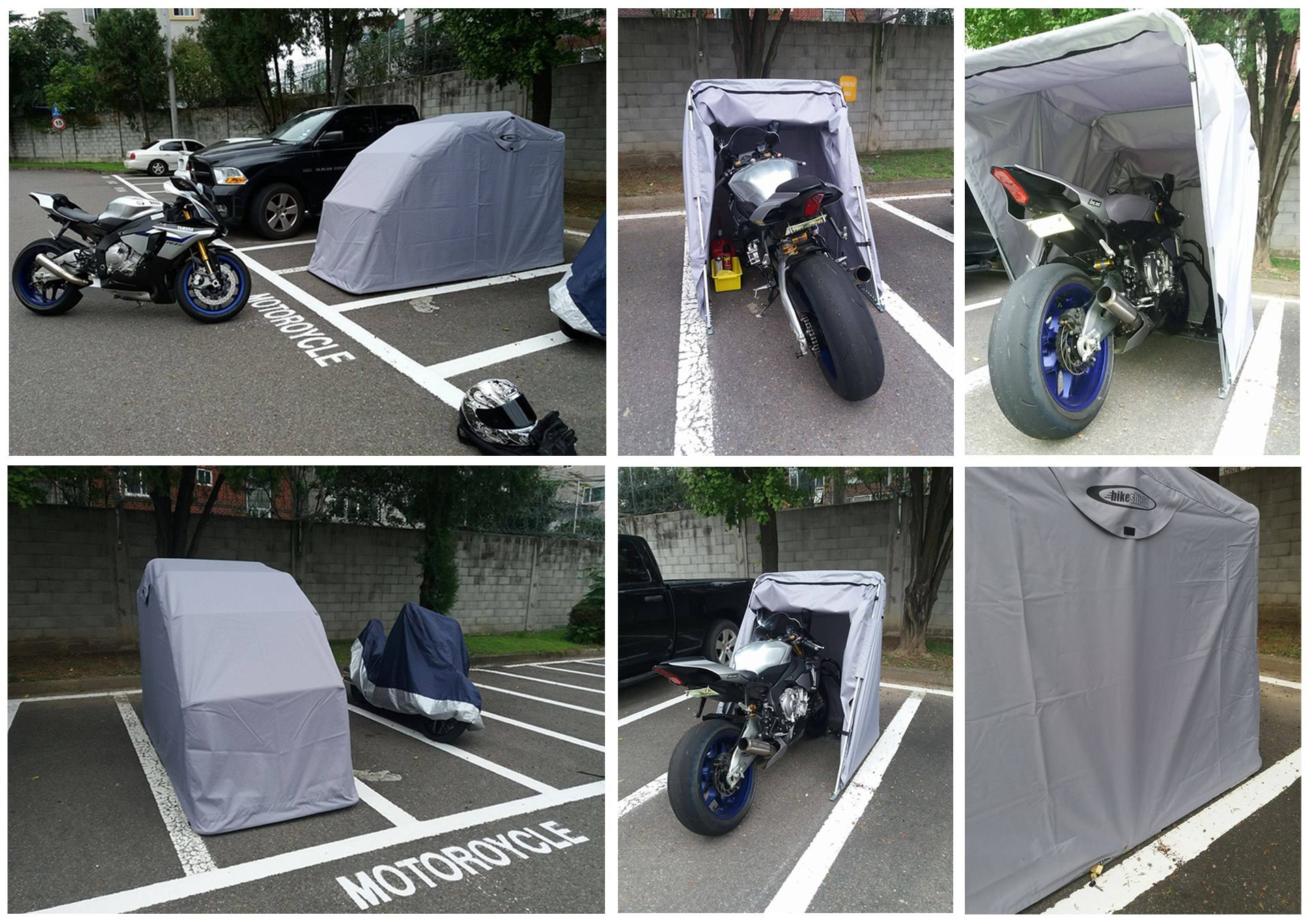 Full Bike Shelters : Motorcycle shelter cover shed and