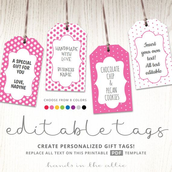 Editable gift tags gift tag template text editable polka dots gift labels hang tags luggage tags party printable digital template