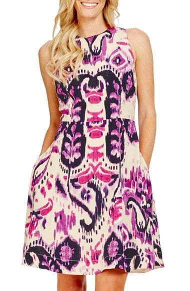 bf85a6cb5b1348 Free shipping and returns on Donna Morgan Ikat Print Sleeveless Fit & Flare  Dress (Regular & Petite) at Nordstrom.com. A vibrant ikat-inspired print  lends ...