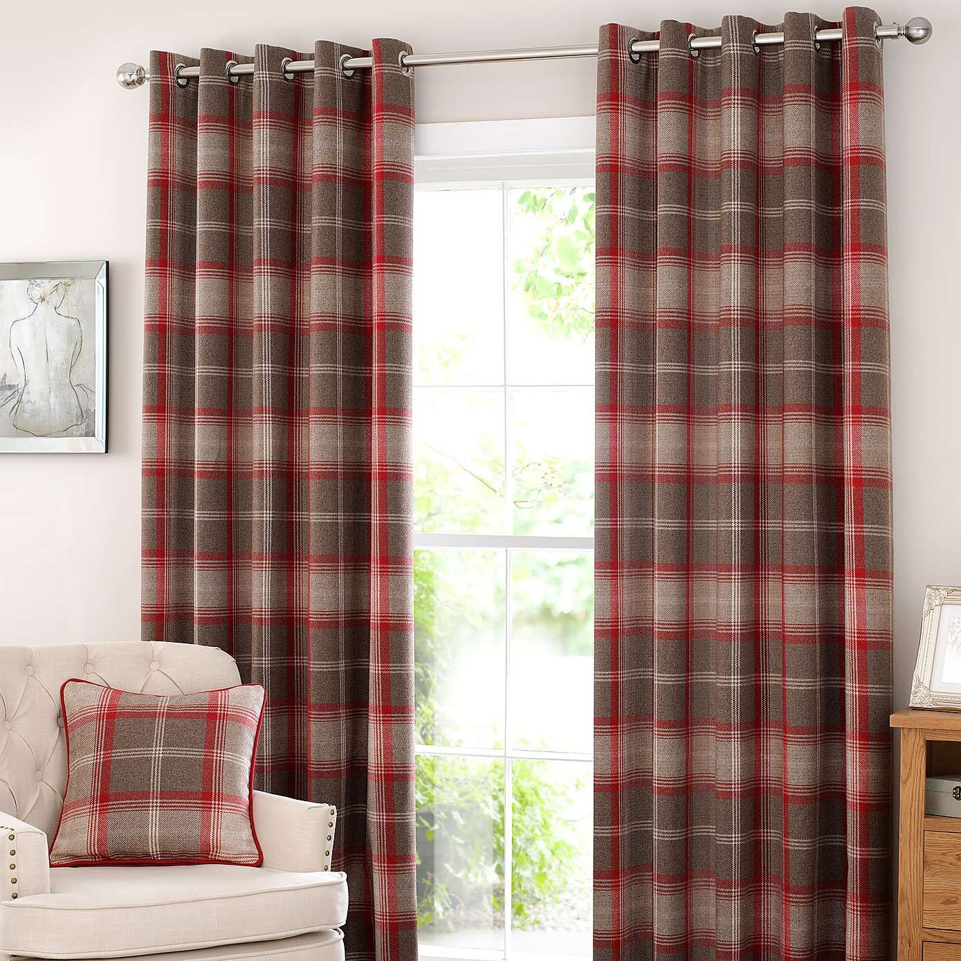 Rustic Plaid Curtains Modern House