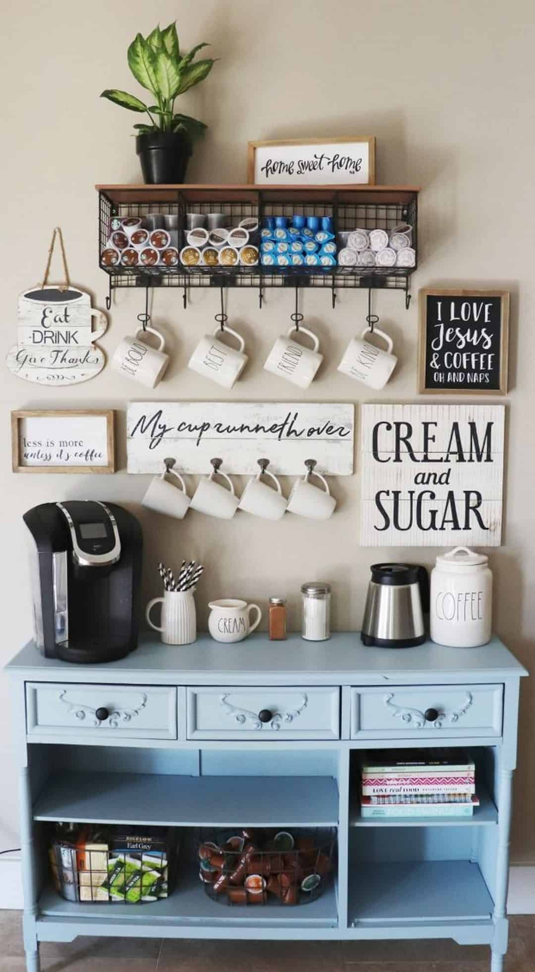 Start your day off the best way possible with a cup of coffee made from one of these amazing coffee bar ideas! #coffeebar #homedecor #DIY