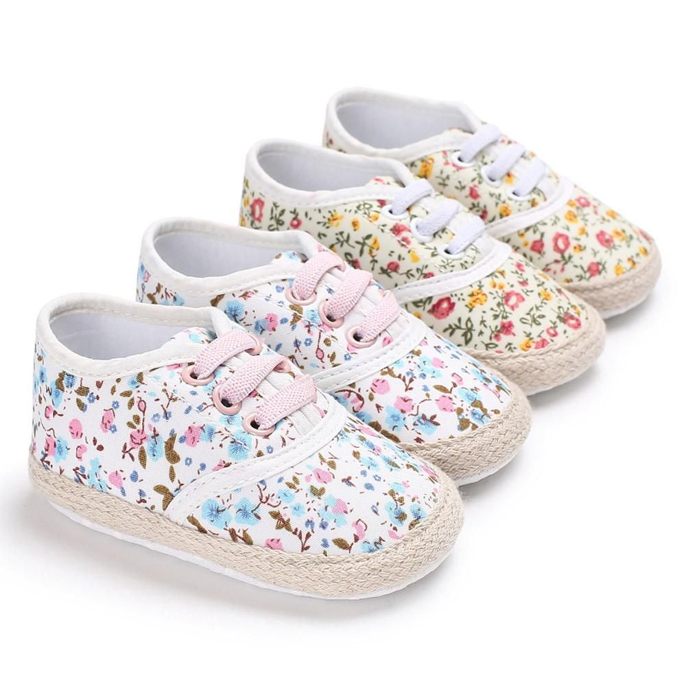Newborn Toddler Infant Baby Kid Girls Floral Bling First Walkers Soft Sole Shoes