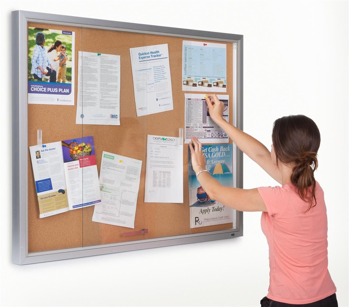 48 X 36 Enclosed Cork Board With Locking Doors Silver Sliding Glass Door Cork Board Tempered Glass Door