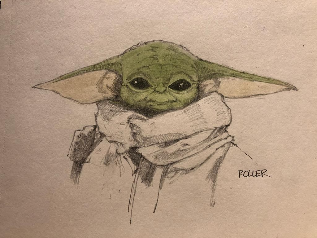 The Mandalorian And The Child Aka Baby Yoda Star Wars Star Wars Drawings Yoda Art Yoda Drawing