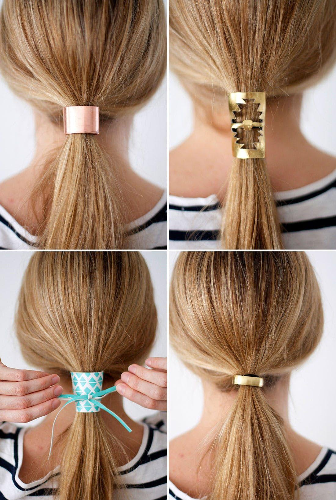5a5987f0e81 Tie One On: 2 Materials, 4 DIY Hair Cuffs via Brit + Co   DIY ...