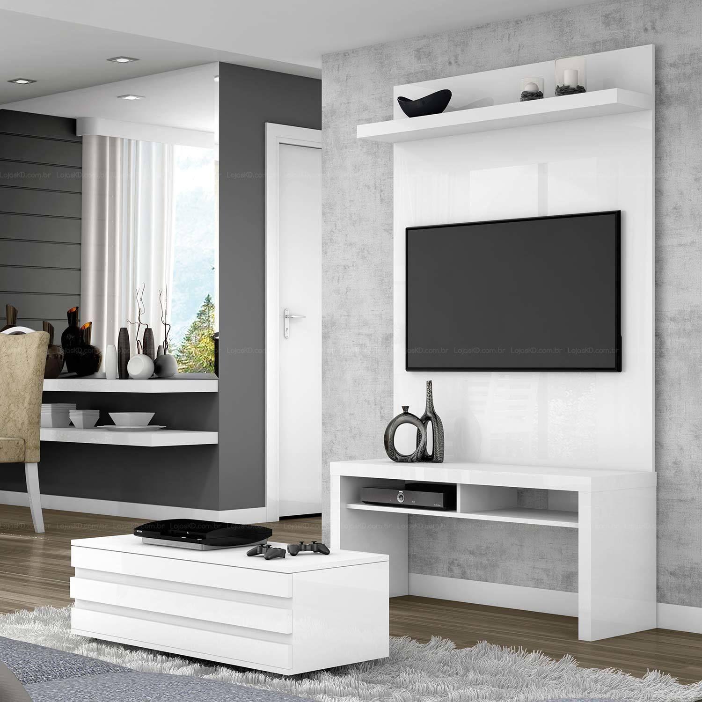 Rack Com Painel Para Tv At 40 Polegadas E Mesa De Centro Ba 100  ~ Painel Para Tv Quarto Com Bancada