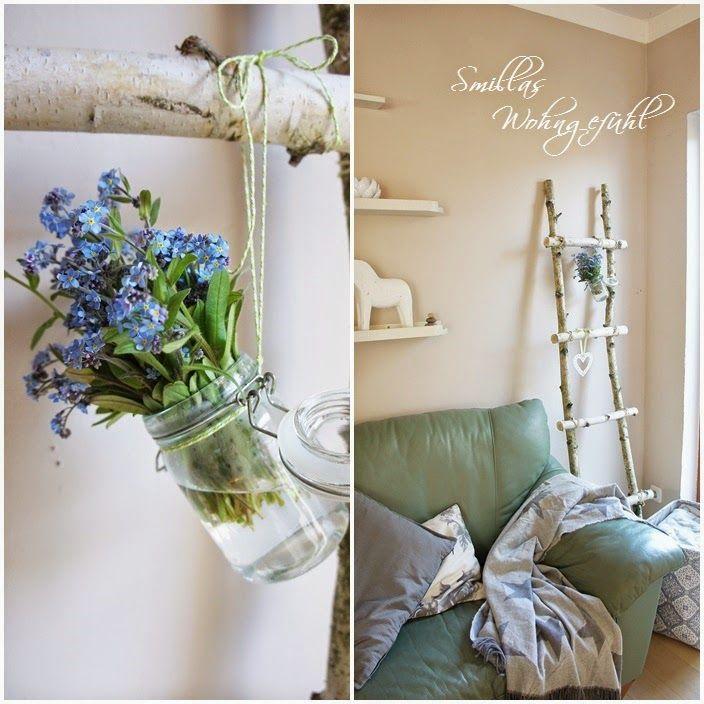 diy holzleiter aus birkenzweigen vintage holzleiter. Black Bedroom Furniture Sets. Home Design Ideas