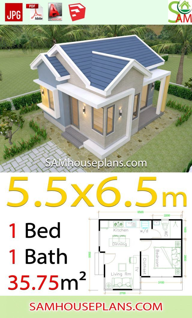 House design Plans 5.5x6.5 with One Bedroom Gable roof ...