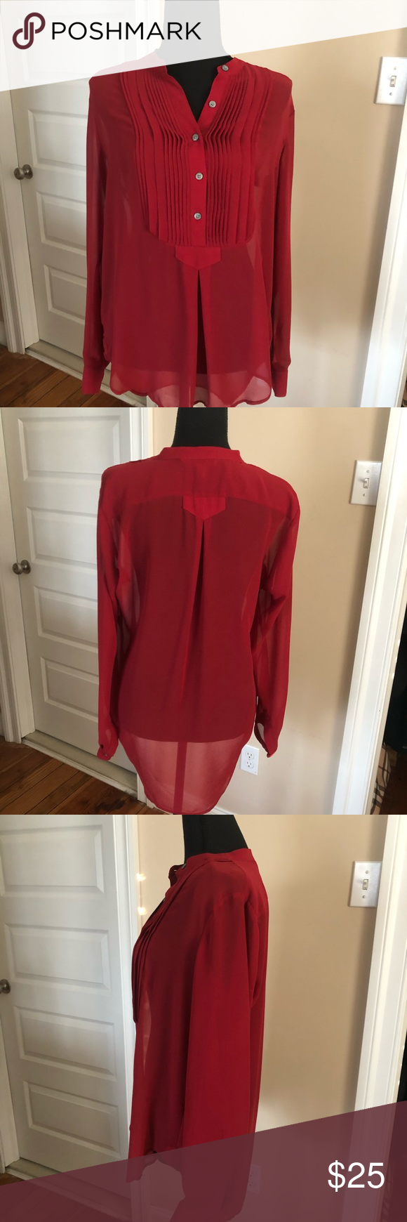 Sheer red Banana Republic blouse Sheer, crimson red, high low Banana Republic blouse.  Longer in back for coverage, and can easily be worn with leggings. Size small.  I always wore with tank under. Banana Republic Tops Blouses