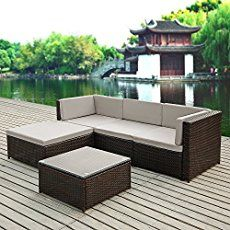 modern outdoor patio furniture. IKayaa Rattan Wicker Patio Sofa Set Garden Furniture W/ Cushions Outdoor Corner Sectional Couch Modern