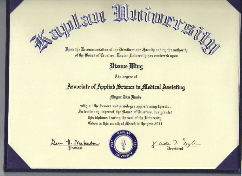 DianneWing2 - Associates Degree Medical Assisting Certificate - 5k - certificate of recommendation sample