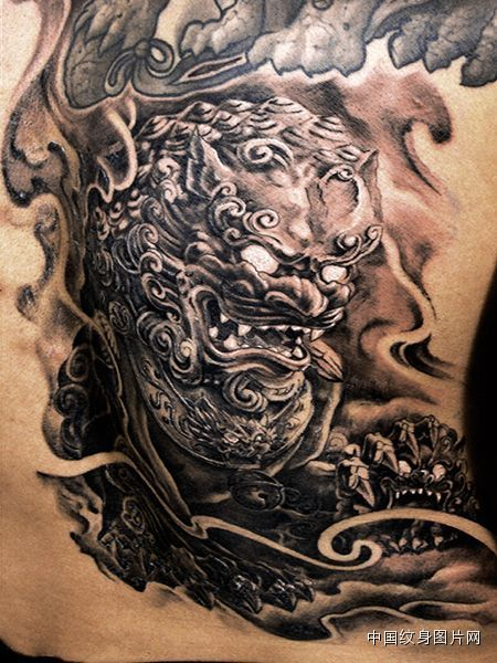 Realistic Colored Angry Foo Dog Tattoo On Lower Back