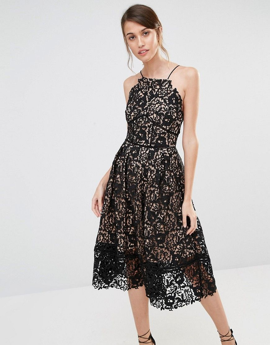 Warehouse yellow lace shift dress