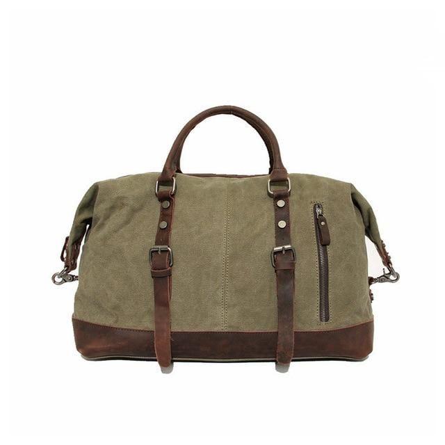 Vintage Military Canvas Leather Big Duffle, Bag Hombres Bolsas de viaje – Verde y pequeño  – Bolsa