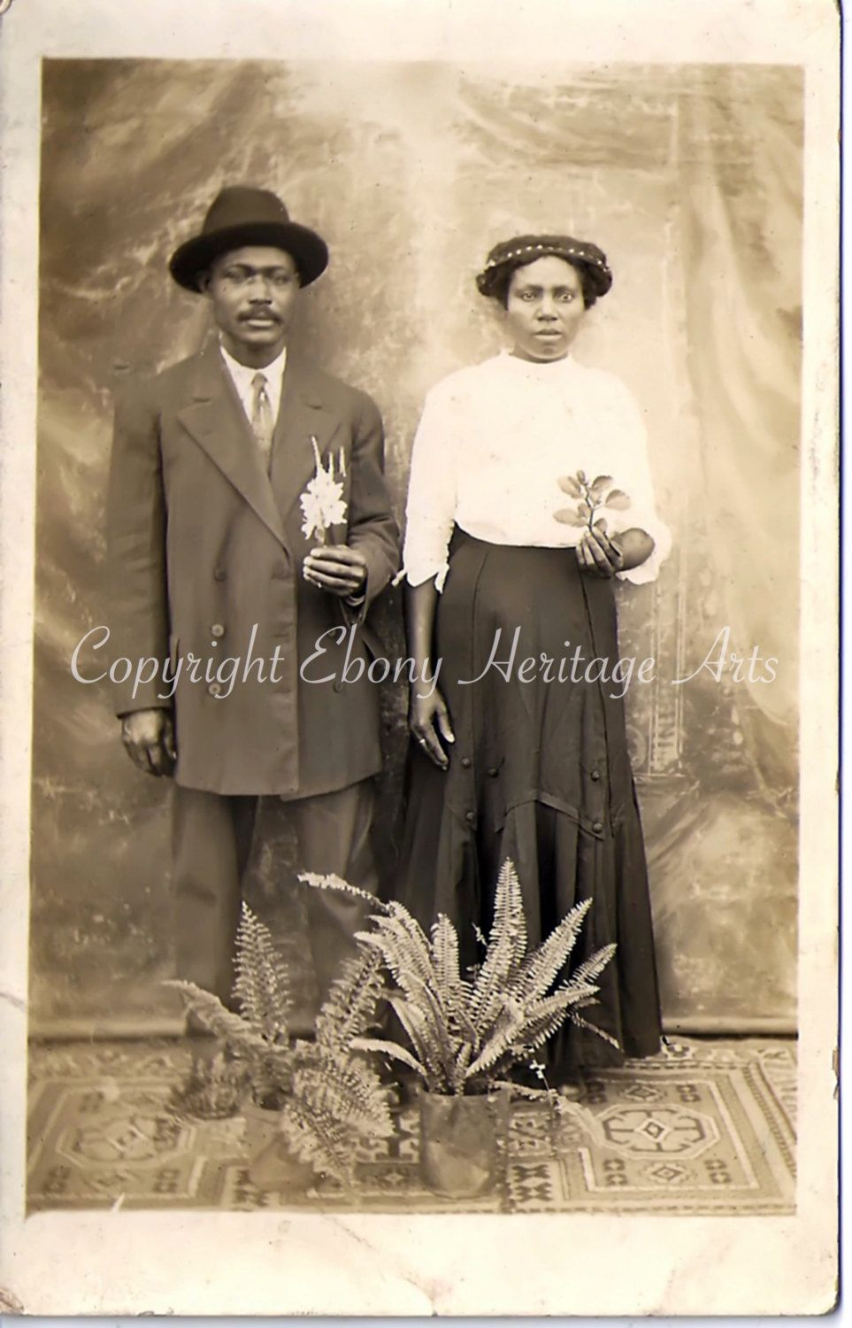 Mister and Missus African American Couple - Antique Photo-Instant Download