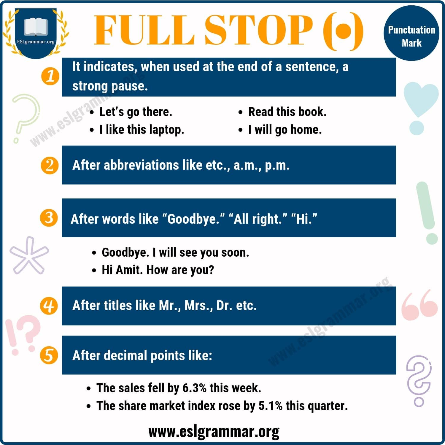Full Stop Meaning And Examples Period Punctuation