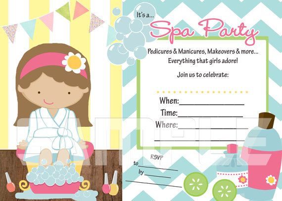 Need an invitation FAST try this Fill in the Blank Spa Party – Printable Spa Party Invitations