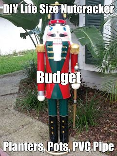 diy life size nutcracker on a budget planters pots pvc pipe - Life Size Nutcracker Outdoor Christmas Decorations