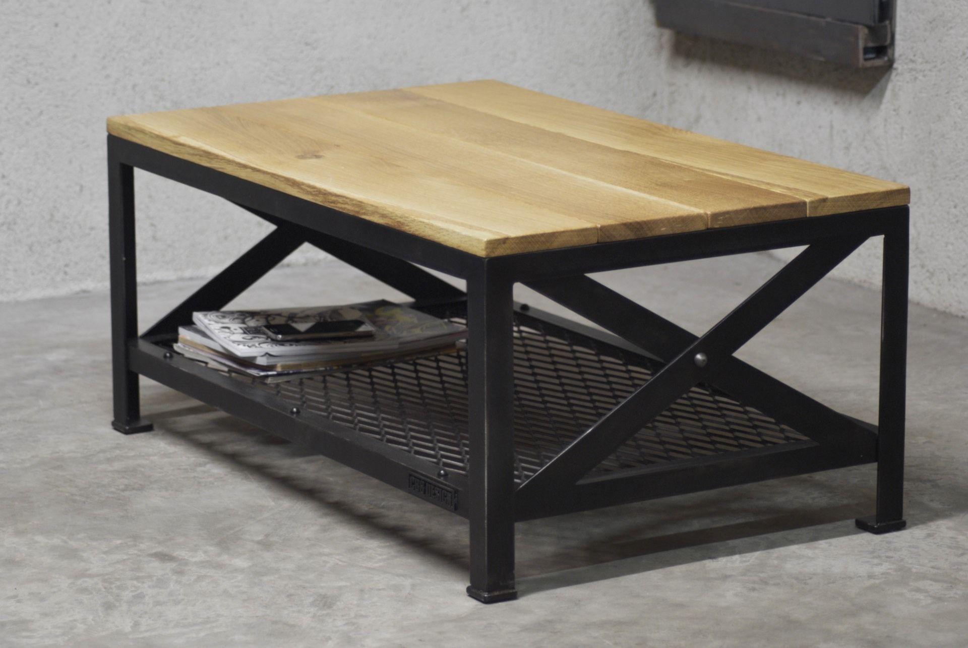 Table basse industrielle Acier & Chªne Mod¨le Brooklyn