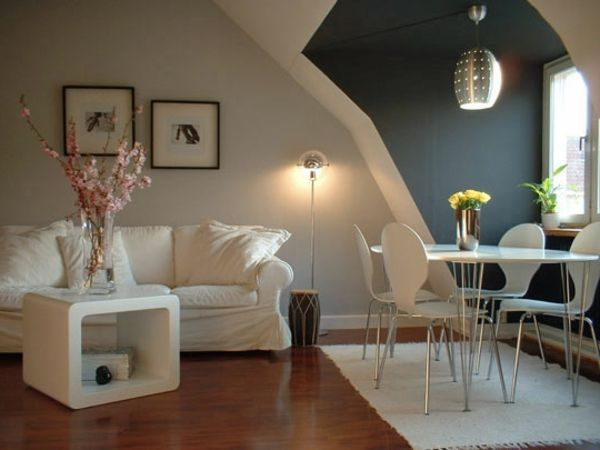 weiße und graue wände - wohnung streichen - Wohnzimmer streichen - braun wohnzimmer ideen