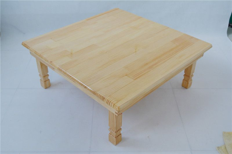 Solid Pine Wood Folding Table Square 80cm 2 Finish Natural Brown Living Room Furniture Large Low Coffee Wooden