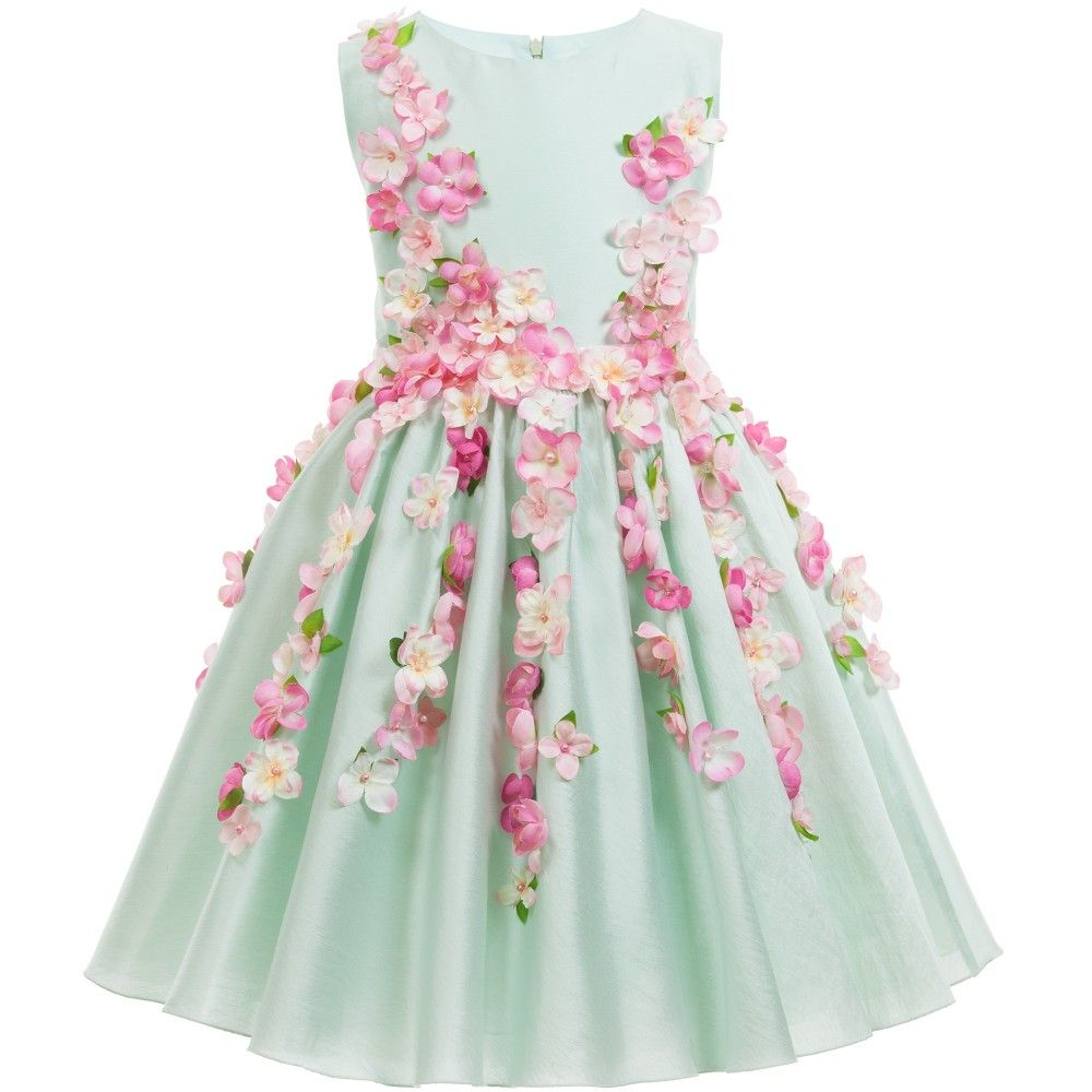 Green Cotton Sateen Dress with Pink Flowers