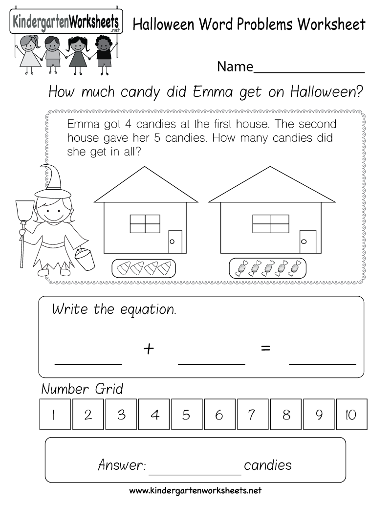 Kids Can Solve A Fun Halloween Themed Word Problem In This Free Kindergart Word Problem Worksheets Kindergarten Math Worksheets Free Word Problems Kindergarten [ 1035 x 800 Pixel ]