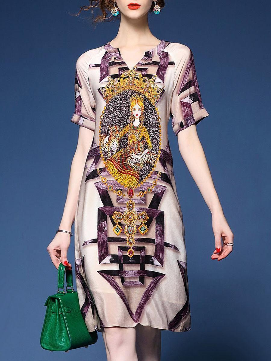 Fashionmia fashionmia special printed split neck shift dress