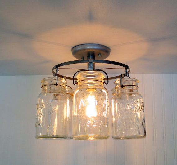 Rustic Wood Light Rustic Ceiling Light Wood Light Fixture: Vintage Canning Jar CEILING LIGHT By LampGoods On Etsy