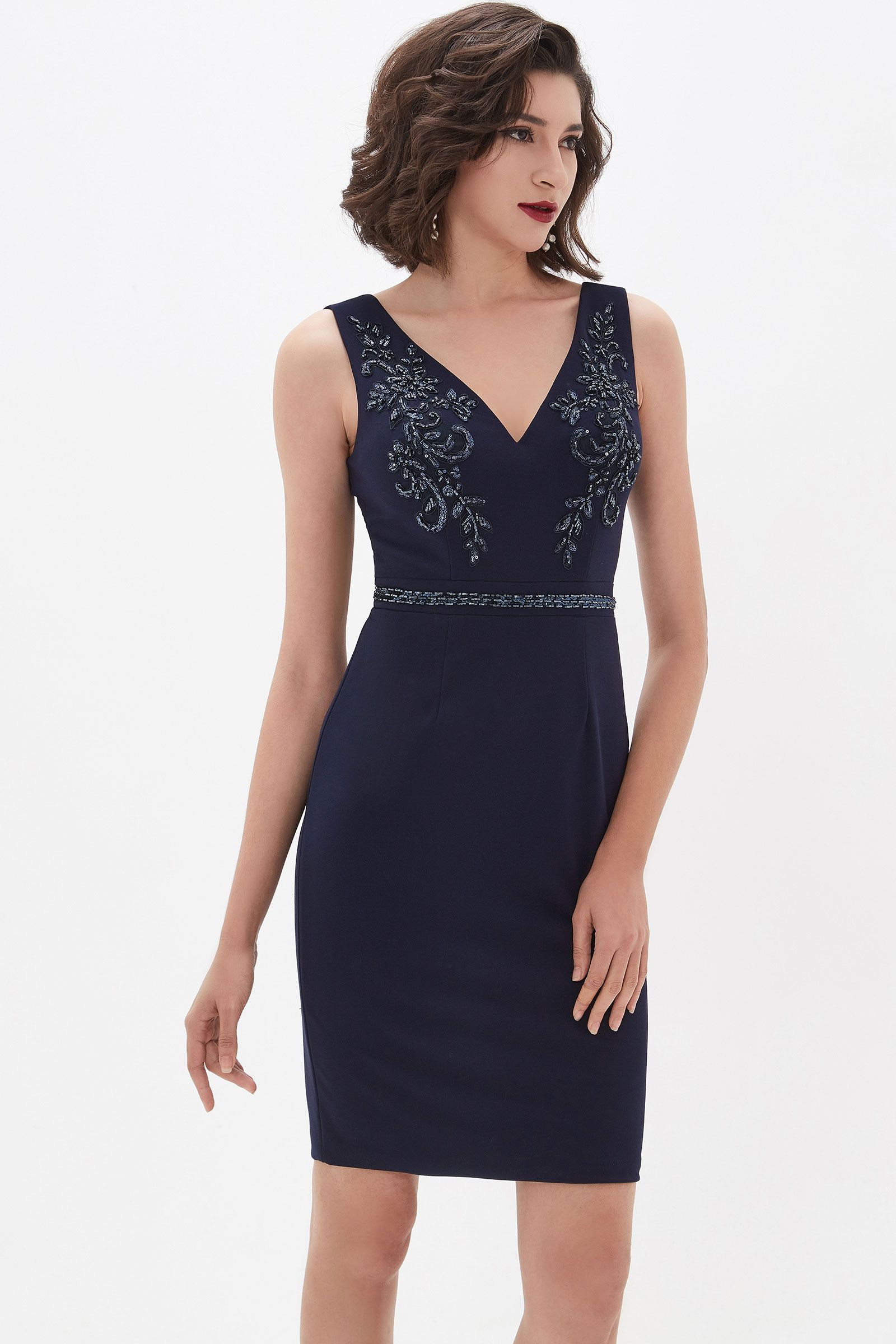 Edressit V Schnit Spitze Stretchy Stoff Kurzes Cocktailkleid 03210305 Short Cocktail Dress Dresses Blue Lace Prom Dress [ 2400 x 1600 Pixel ]