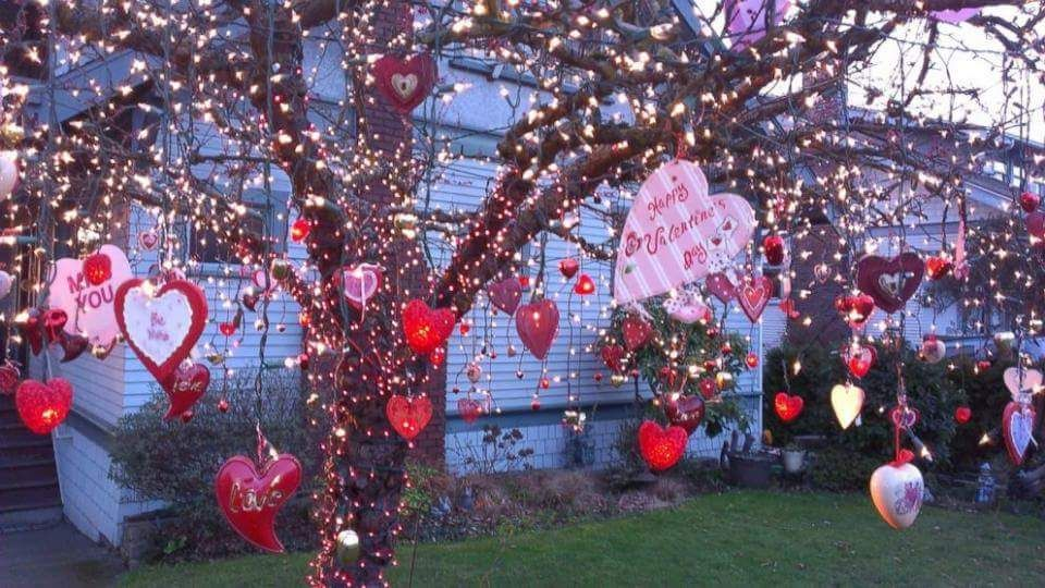 Beautiful Hearts Hanging On The Tree Valentines Day Decoration For