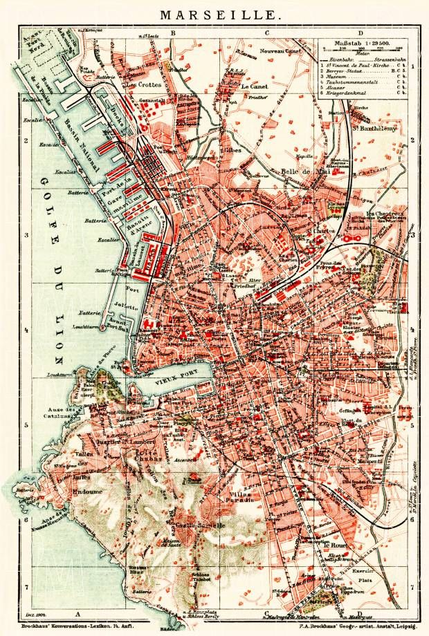 Marseille city map 1904 Marseille Vintage maps and France