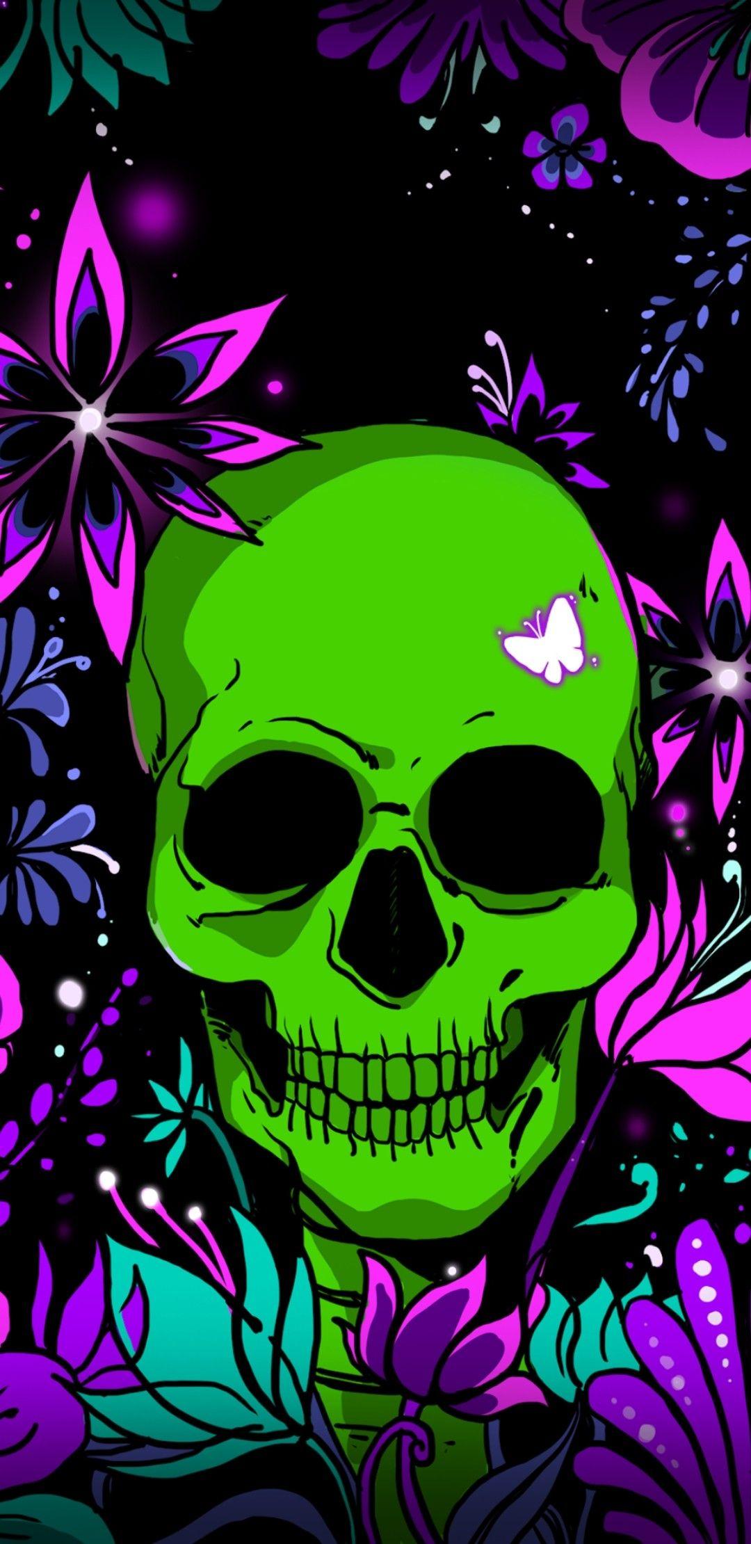 Giggle Green Skull Skull Artwork Skull Wallpaper Sugar Skull Art