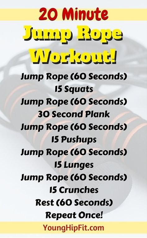 Jump Rope Workout That Takes Just 20 Minutes Burn Calories Fast And Add Lean Muscle Tone To Your Legs Abs And Jump Rope Workout Burn Calories Fast Jump Rope