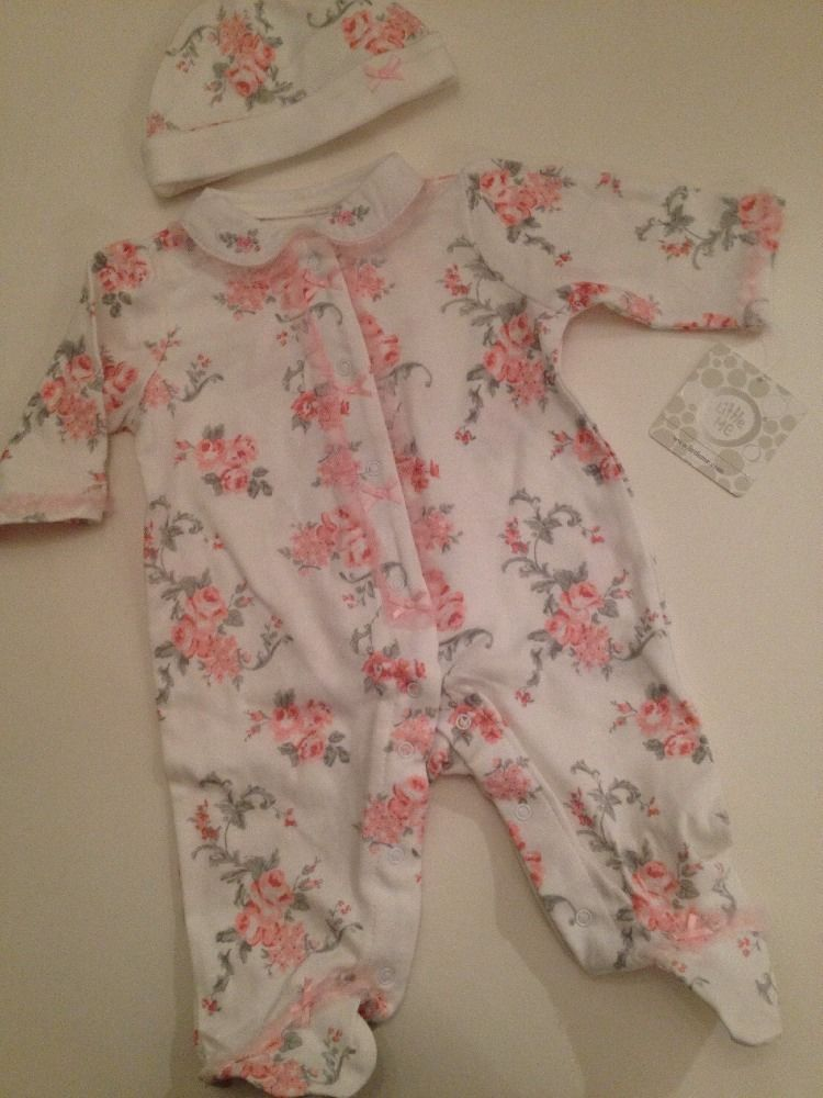 Little Me Baby Girls Coverall Hat Outfit Size 3 6 9 Months Ivory Floral Layette