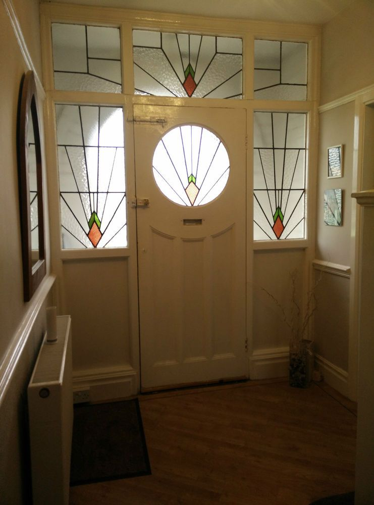 Stained Glass Leaded Windows And Door 1930 S Stained Glass Door 1930s House Interior 1930s House Exterior