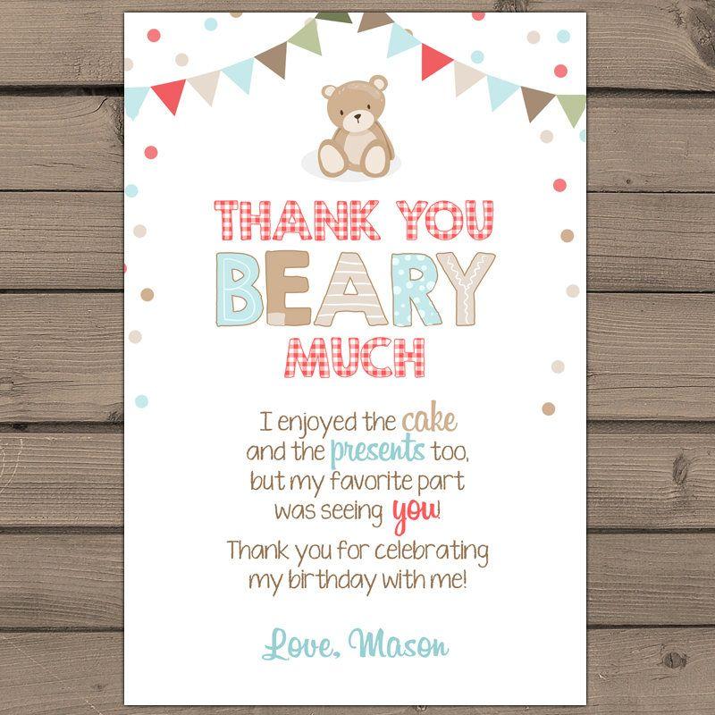 Teddy Bear Picnic Thank you card Teddy Bear Picnic Birthday Party ...