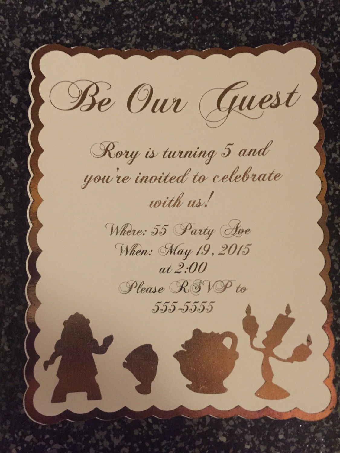 Beauty and the Beast invitations Be our guest invitiations by
