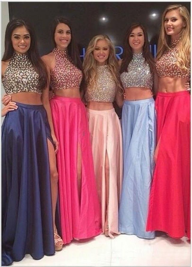 Gorgeous Two Pieces Evening Gowns Blue A Line Sweep Train High Neck ...