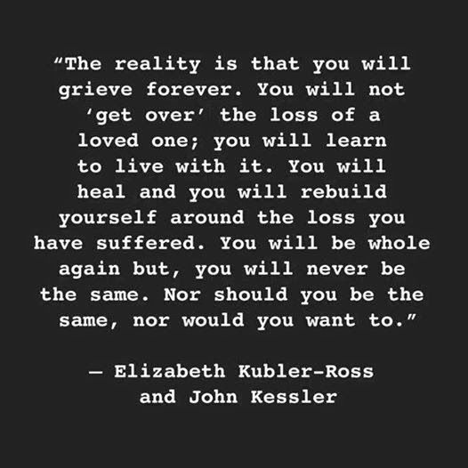 Grief Quotes The Reality Is That You Will Grieve Forever  Elizabeth Kublerross .